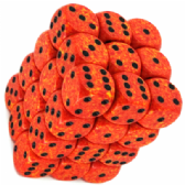 Orange & Yellow 'Fire' Speckled 12mm D6 Dice Block